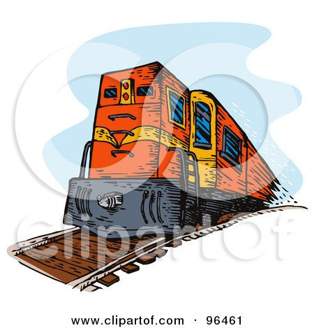 Royalty-Free (RF) Clipart Illustration of a Red Diesel Train From The Front by patrimonio