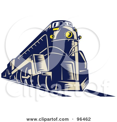 Royalty-Free (RF) Clipart Illustration of a Blue Steam Engine From A Front Left View by patrimonio