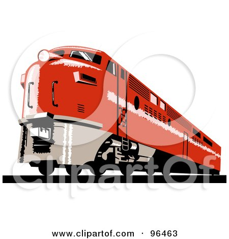 Royalty-Free (RF) Clipart Illustration of a Red Diesel Train From The Front Right View by patrimonio