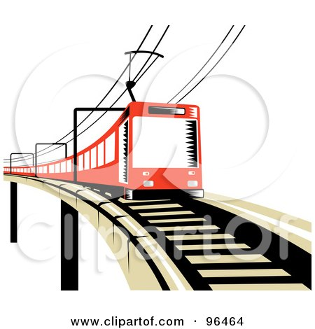 Royalty-Free (RF) Clipart Illustration of a Red Electric Train On A Raised Track by patrimonio