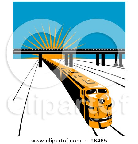 Royalty-Free (RF) Clipart Illustration of a Yellow Diesel Train Traveling Away From A Sunrise by patrimonio