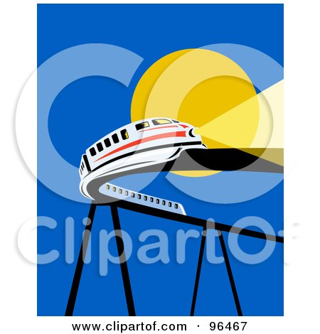 Royalty-Free (RF) Clipart Illustration of a White Monorail Trail Traveling On A Curving Raised Bridge Against The Sun by patrimonio