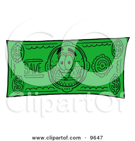 Clipart Picture of an Ice Cream Cone Mascot Cartoon Character on a Dollar Bill by Toons4Biz