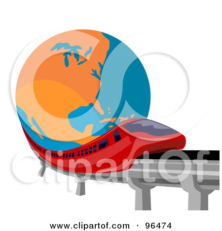 Royalty Free RF Clipart Illustration Of A Red Monorail Speeding Past A Globe