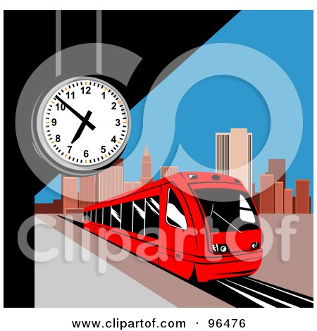 Royalty Free Rf Clipart Illustration Of A Red Light Rail