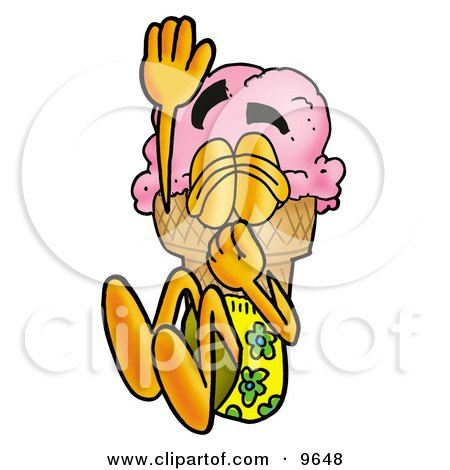 Clipart Picture of an Ice Cream Cone Mascot Cartoon Character Plugging His Nose While Jumping Into Water by Toons4Biz