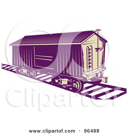 Royalty-Free (RF) Clipart Illustration of a Purple Box Car Stopped On A Track by patrimonio