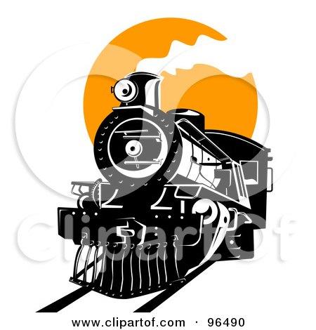Royalty-Free (RF) Clipart Illustration of a Black Steam Train Moving Forward Against An Orange Sun by patrimonio