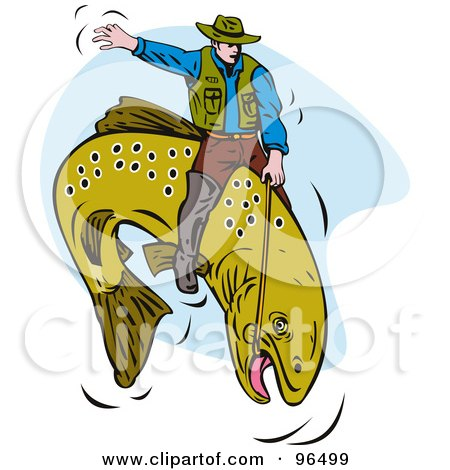 Royalty-Free (RF) Clipart Illustration of a Fisherman Riding A Trout Like A Cowboy At The Rodeo by patrimonio