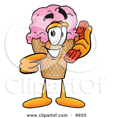 Clipart Picture of an Ice Cream Cone Mascot Cartoon Character Holding a Telephone by Toons4Biz