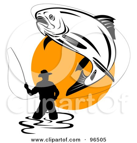 Royalty-Free (RF) Clipart Illustration of a Large Trout Leaping Into The Air While Being Reeled In By A Wading Fisherman by patrimonio