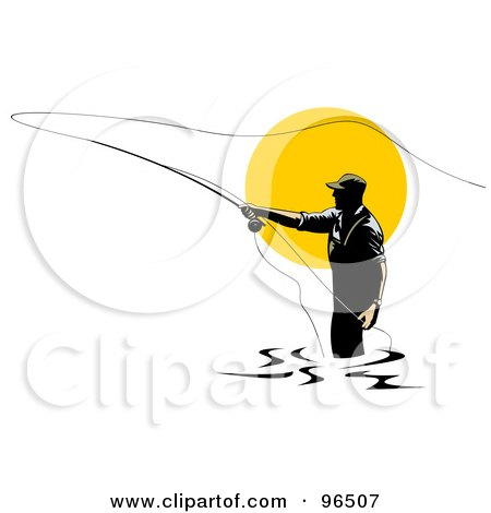Royalty-Free (RF) Clipart Illustration of a Fly Fisherman Silhouetted Against The Sun, Casting His Line by patrimonio