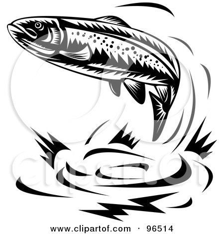 Royalty-Free (RF) Clipart Illustration of a Black And White Leaping Trout by patrimonio