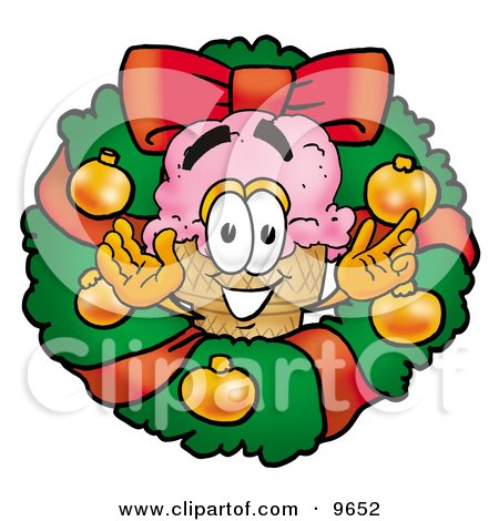 Clipart Picture of an Ice Cream Cone Mascot Cartoon Character in the Center of a Christmas Wreath by Toons4Biz