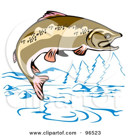 Royalty Free RF Clipart Illustration Of A Brown Trout Jumping Out The Water Mountainous River By Patrimonio