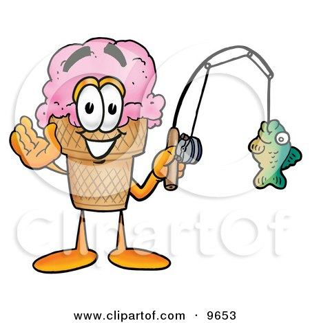 Ice Cream Cone Mascot Cartoon Character Holding a Fish on a Fishing Pole Posters, Art Prints