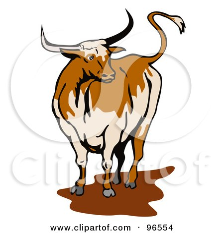 Royalty-free clipart picture of a texas longhorn bull standing in a mud