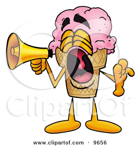 Clipart Picture of an Ice Cream Cone Mascot Cartoon Character Screaming Into a Megaphone by Toons4Biz