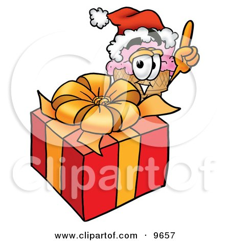Ice Cream Cone Mascot Cartoon Character Standing by a Christmas Present Posters, Art Prints