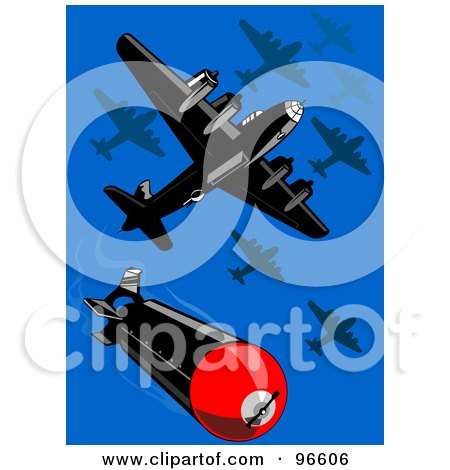 Royalty-Free (RF) Clipart Illustration of Military Bomber Planes Dropping Bombs  by patrimonio