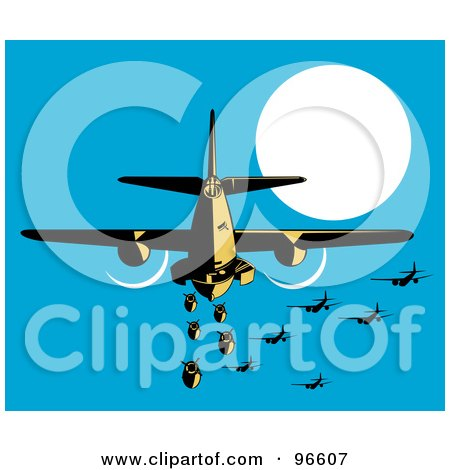 Royalty-Free (RF) Clipart Illustration of a Military Bomber Plane Releasing Bombs by patrimonio