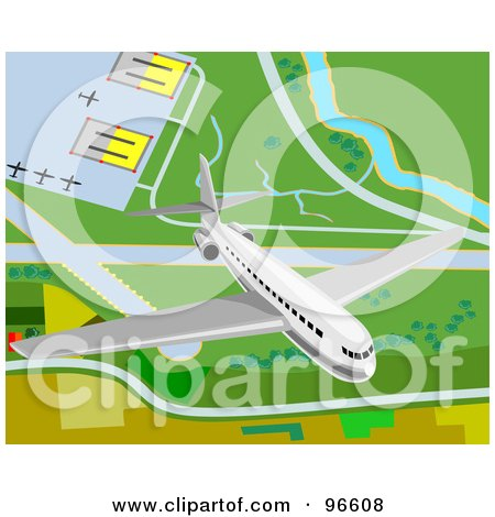 Royalty-Free (RF) Clipart Illustration of a Commercial Airliner Taking Off From An Airport - 1 by patrimonio