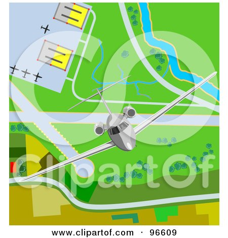 Royalty-Free (RF) Clipart Illustration of a Commercial Airliner Taking Off From An Airport - 2 by patrimonio