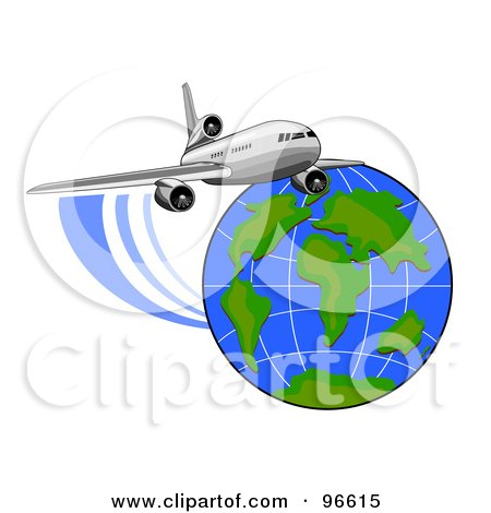 Royalty-Free (RF) Clipart Illustration of a Commercial Airplane In Flight - 6 by patrimonio