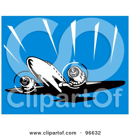 Royalty-Free (RF) Clipart Illustration of a Commercial Airplane In Flight - 21 by patrimonio