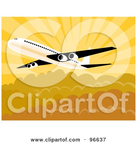 Royalty-Free (RF) Clipart Illustration of a Commercial Airplane In Flight - 24 by patrimonio