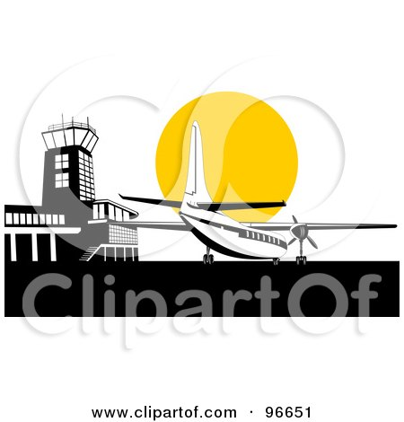 Royalty-Free (RF) Clipart Illustration of a Commercial Airplane Against The Yellow Sun At The Airport by patrimonio