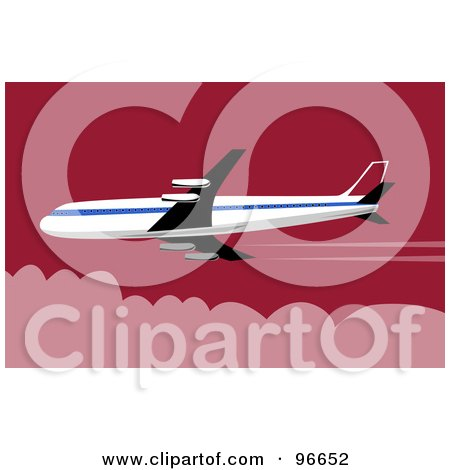 Royalty-Free (RF) Clipart Illustration of a Commercial Airplane In Flight - 38 by patrimonio