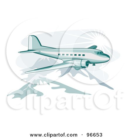 Royalty-Free (RF) Clipart Illustration of a Commercial Airplane In Flight - 39 by patrimonio