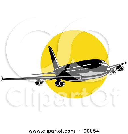 Royalty-Free (RF) Clipart Illustration of a Commercial Airplane In Flight - 40 by patrimonio
