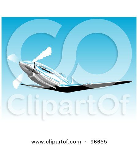 Royalty-Free (RF) Clipart Illustration of a Fighter Mustang Plane In A Blue Sky by patrimonio
