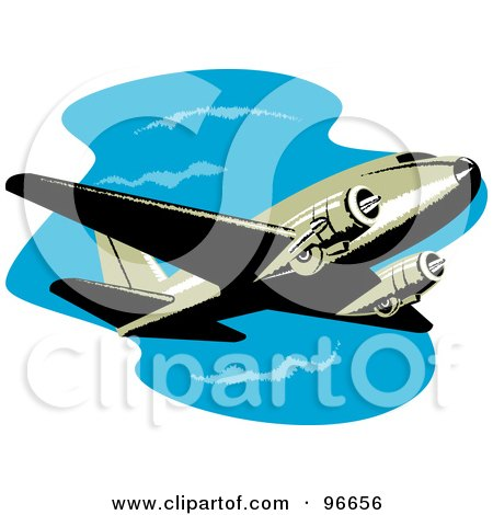 Royalty-Free (RF) Clipart Illustration of a Commercial Airplane In Flight - 41 by patrimonio