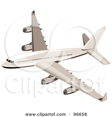 Royalty-Free (RF) Clipart Illustration of a Commercial Airplane In Flight - 43 by patrimonio