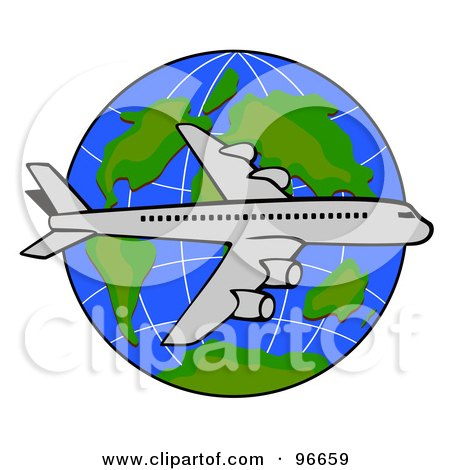 Royalty-Free (RF) Clipart Illustration of a Commercial Airplane In Flight - 44 by patrimonio