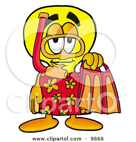 Clipart Picture of a Light Bulb Mascot Cartoon Character in Orange and Red Snorkel Gear by Toons4Biz