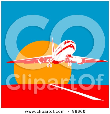 Royalty-Free (RF) Clipart Illustration of a Commercial Airplane Departing For Flight At Sun Down by patrimonio
