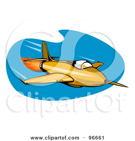 Royalty-Free (RF) Clipart Illustration of a Fast Retro Fighter Plane Over Blue by patrimonio