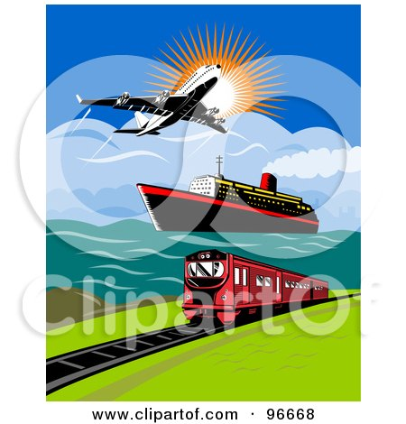 Royalty-Free (RF) Clipart Illustration of a Commercial Airliner Over A Ship And Train by patrimonio