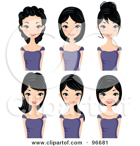 Royalty-Free (RF) Clipart Illustration of a Digital Collage Of A Black Haired Woman Sporting Different Hair Styles by Melisende Vector