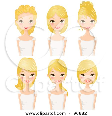 Royalty-Free (RF) Clipart Illustration of a Digital Collage Of A Blond Woman Sporting Different Hair Styles by Melisende Vector