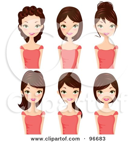 Royalty-Free (RF) Clipart Illustration of a Digital Collage Of A Brunette Woman Sporting Different Hair Styles by Melisende Vector