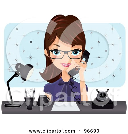 Royalty-Free (RF) Clipart Illustration of a Brunette Receptionist Wearing Glasses, Talking On A Phone At Her Desk by Melisende Vector