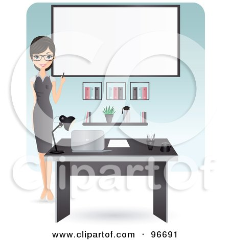 Beautiful Secretary Pointing To A Blank Board Behind Her Desk Posters, Art Prints