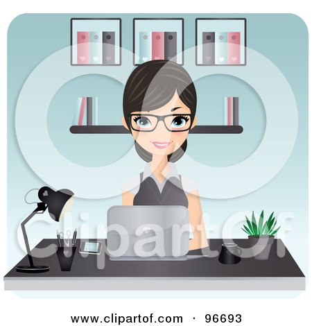 Royalty-Free (RF) Clipart Illustration of a Beautiful Secretary Typing On A Laptop At An Office Desk by Melisende Vector