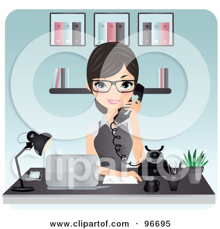 Royalty-Free (RF) Clipart Illustration of a Pretty Brunette Receptionist Wearing Glasses And Holding A White Phone by Melisende Vector