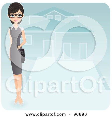 Royalty-Free (RF) Clipart Illustration of a Pretty Realtor Standing In The Driveway Of A Residential Home by Melisende Vector